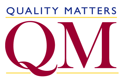 Quality Matters written in blue over a capital Q and M written in red with gold lines outlining the top and bottom of the QM