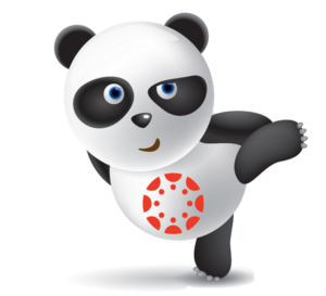 A Panda with the Canvas (ISU's new learning management system) Logo