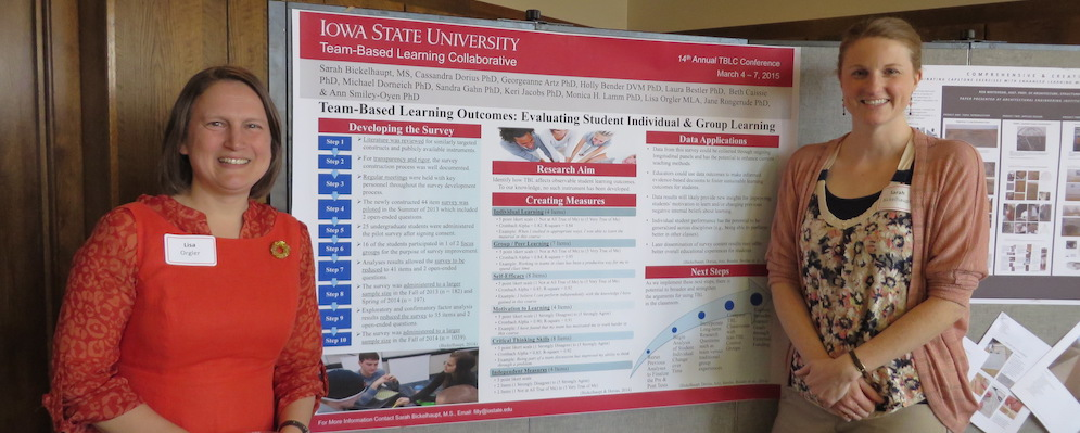 Lisa Orgler and Sara Bicklehaupht presenting their poster during a Symposium