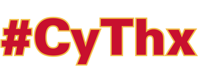 CyThx written in cardinal red font with gold outlines