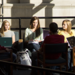 Group of student studying at Parks Library at Iowa State University