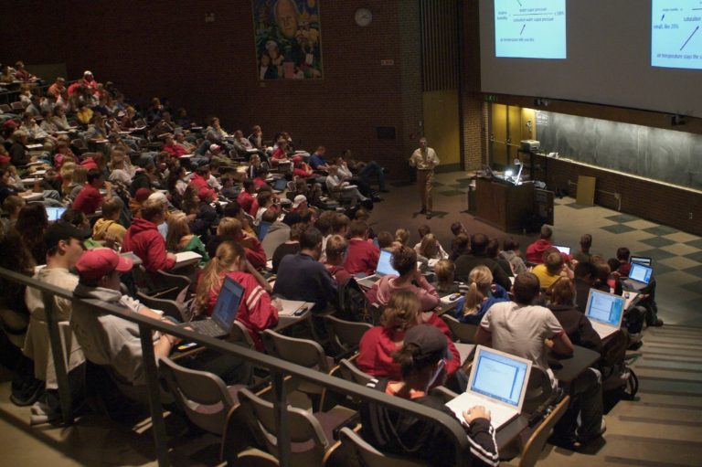 students in a lecture hall at Iowa State University