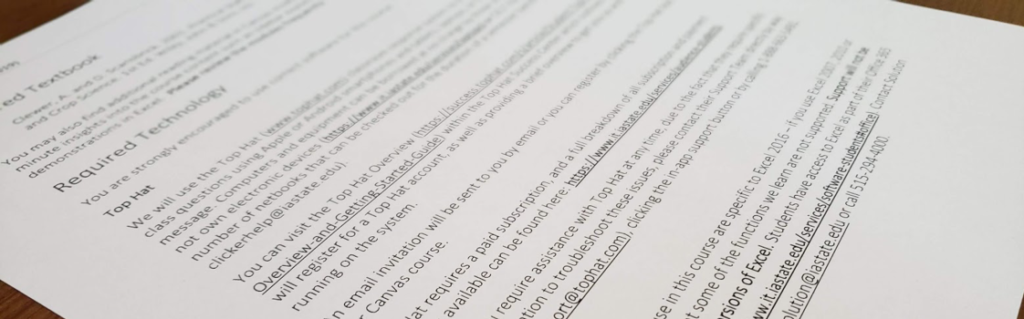 close up of the Top Hat text on a paper syllabus