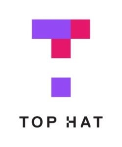 Top Hat written in black font with the purple and magenta letter T of the Top Hat logo above it