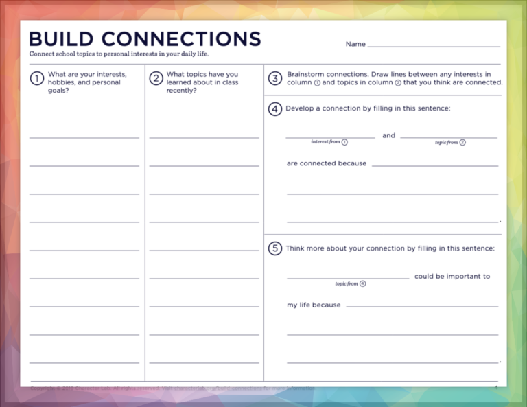 An activity from Character Lab that asks students to Connect school topics to personal interests