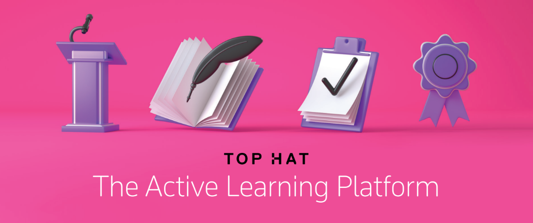 Pink Top Hat graphic showing icons for classroom, textbooks, assignments, and secure exams.
