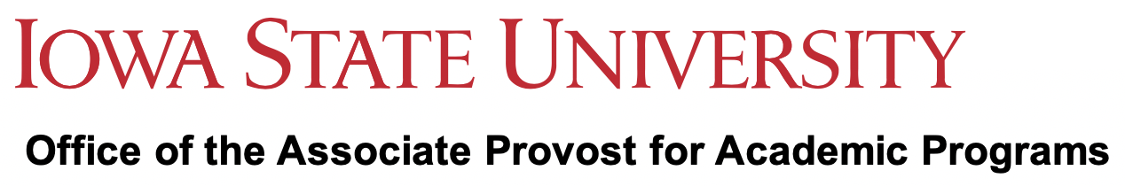 Iowa State University nameplate in red with Office of the Associate Provost for Academic Programs written in black below it