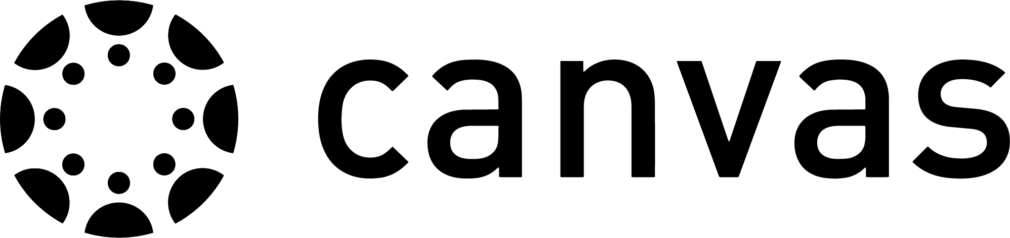 A black Canvas logo that features a circle on the left side consisting of semi-circles and dots in the center ring with the word Canvas in lowercase to the right of the circle.