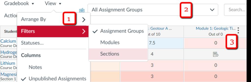 Data filtering in the gradebook