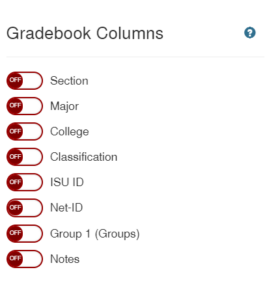Extra gradebook columns available in Canvas at Iowa State University