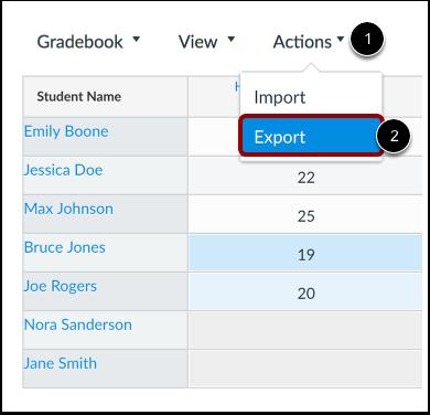 Gradebook export