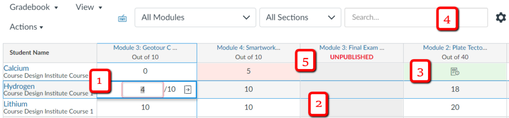 The new gradebook interface in Canvas