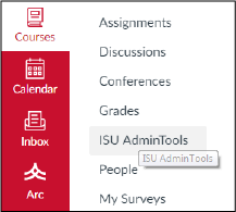 Select ISU Admin Tools from the help menu (far left of your screen)