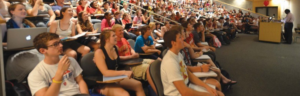 Students in a class being taught in Mackay Hall
