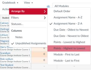 Organize columns by specific criterion