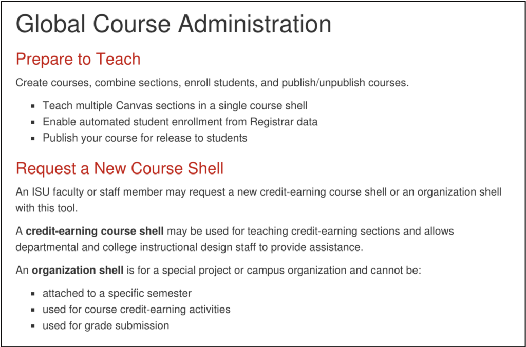 Global Course Administration with Prepare to Teach and Request a New Course Shell