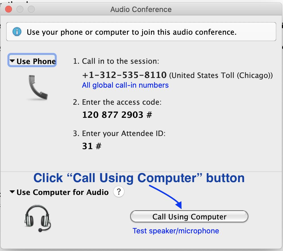 Click Call Using Computer button
