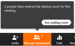 See waiting room in Zoom