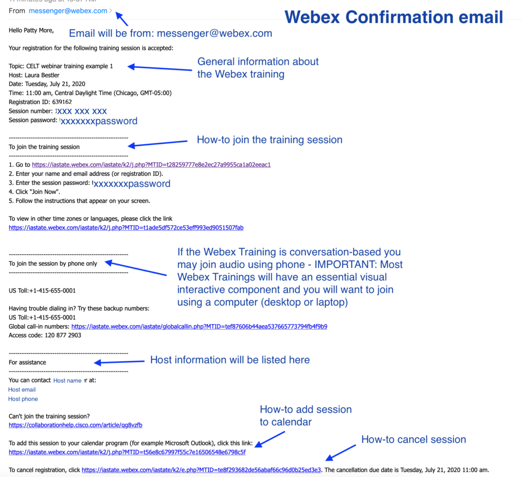 Webex email invitation