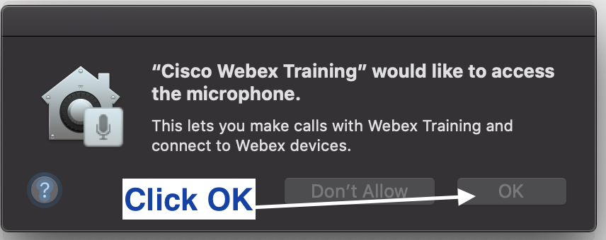 Click OK to allow Webex Training to access the microphone
