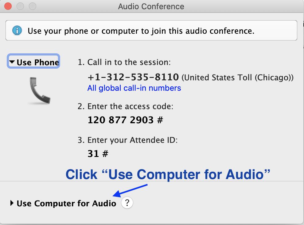 Choose audio in Webex Training