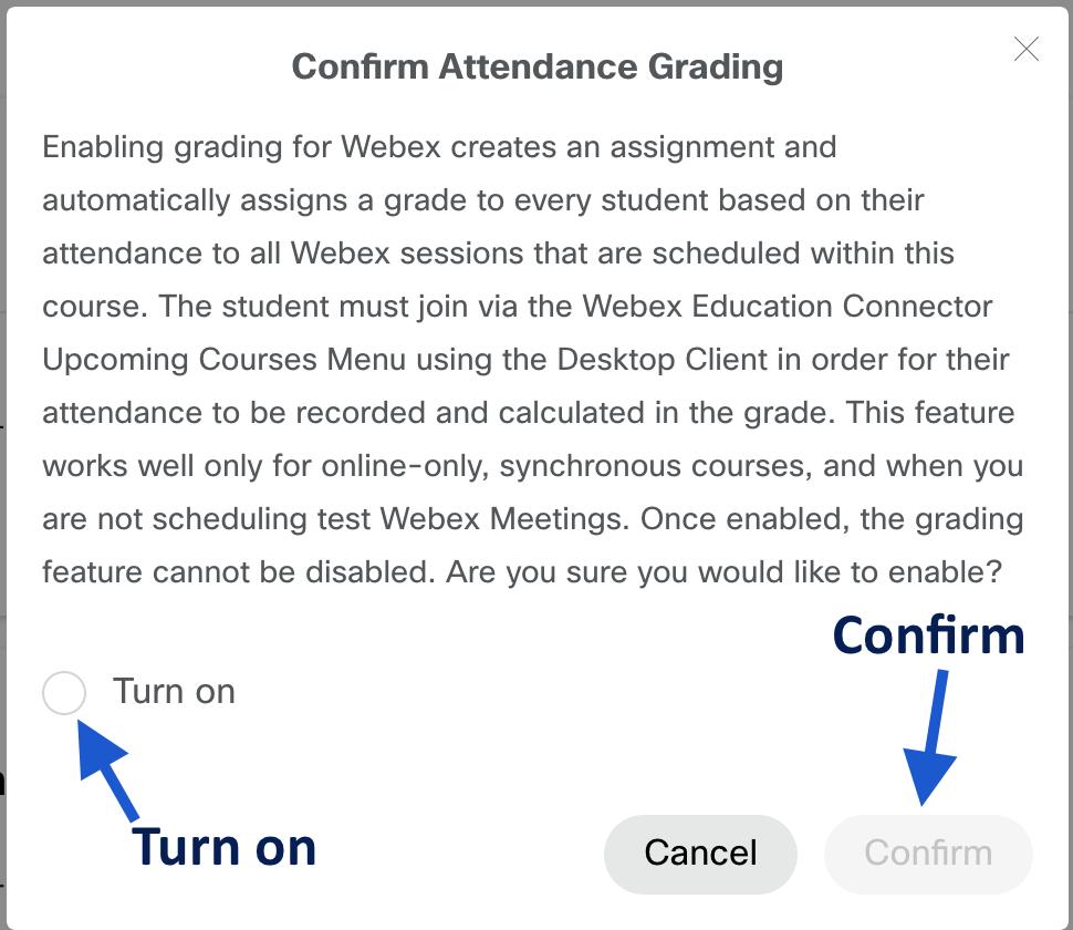 webex attendance notification window