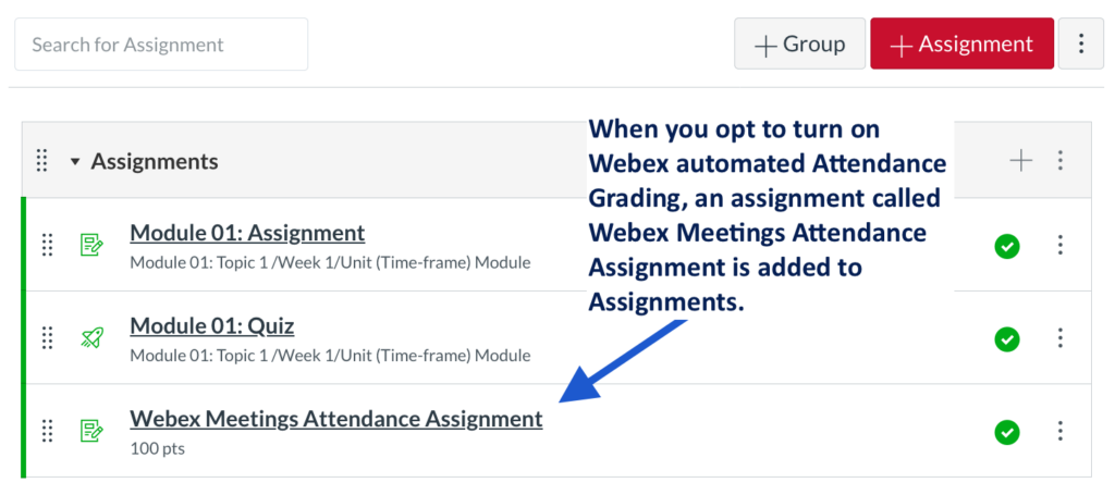 Automatically creates a Webex attendance assignment group