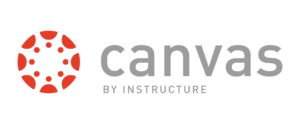 Canvas logo - there is a red circle with shapes on the inside and the word canvas in all lowercase next to it