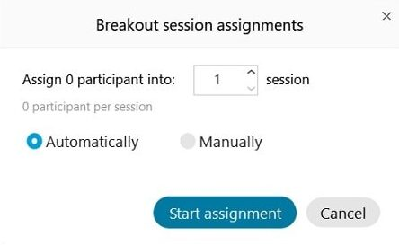 breakout rooms - choose automatic creation