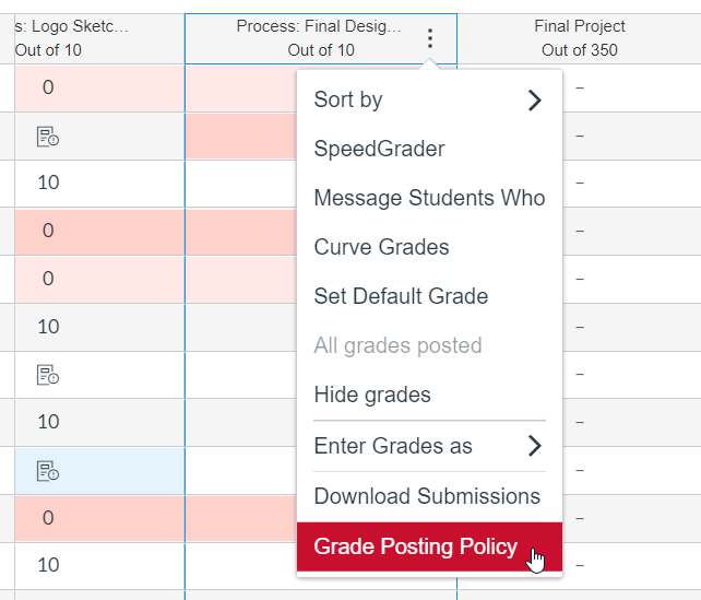 select grade posting policy