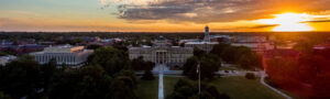 The sun sets over Beardshear Hall on June 27. Max Goldberg/Iowa State Daily