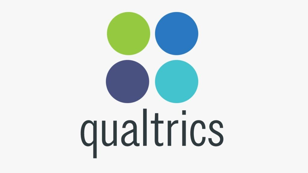 Qualtrics written below four circles stacked two on top of the other two. The top two circles are that green, and green-blue - the bottom two are navy blue and teal