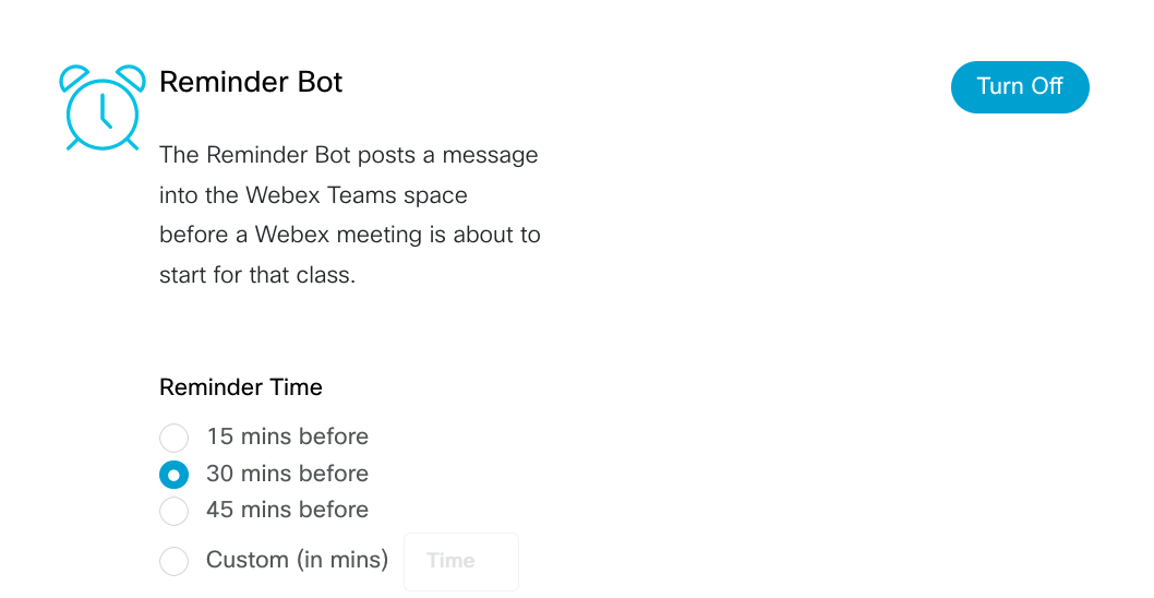 Reminder Bot is active - select the time to send the reminder