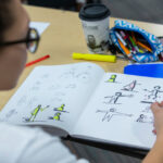 Students learn how to develop their sketchnoting skills from Verena Paepcke-Hjeltness, assistant professor of industrial design. Photo by Christopher Gannon.