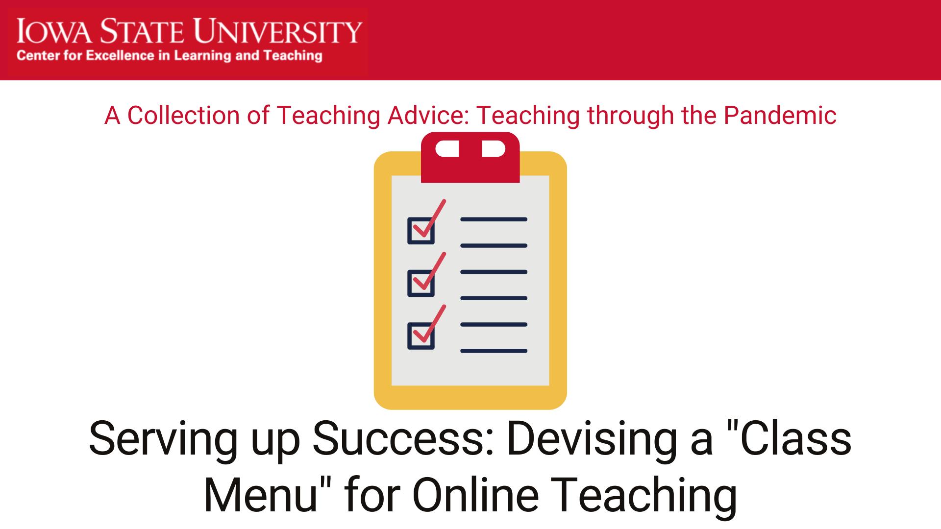 """Serving up success: Devising a """"class menu"""" for online teaching, Cason Murphy"""
