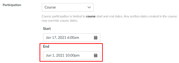 Photo displays the way to specify the course end date in Canvas to specify when the course should be concluded.