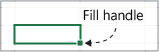 Excel fill handle is located in the lower right corner of the active cell.