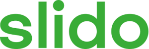Slido logo - transparent background and slido is written in green text. The typeface is all lowercase.