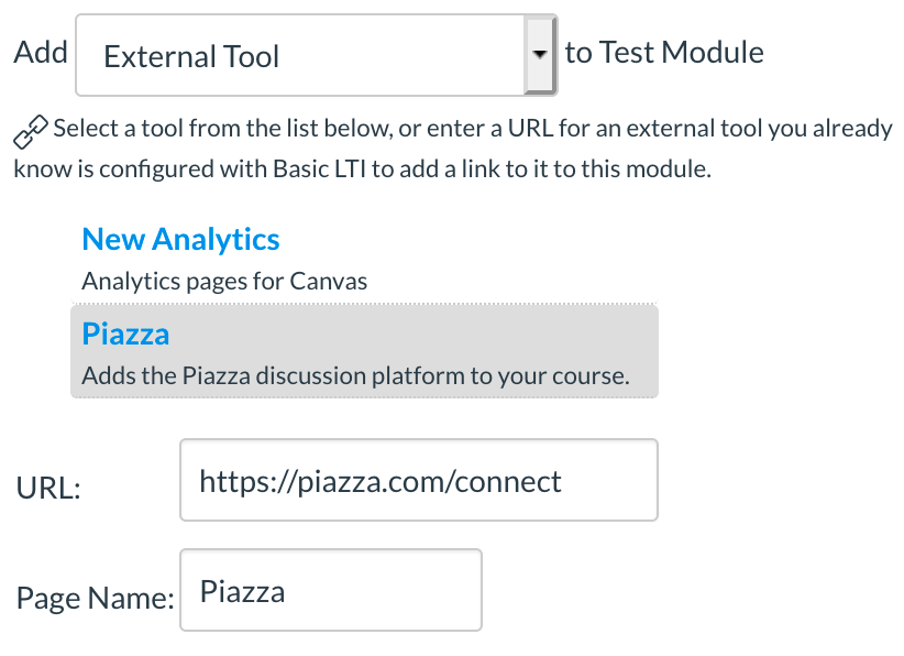 Depicts how to add an external tool to a specific module in Canvas.